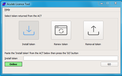Aculab Licensing Tool (ALT) screen